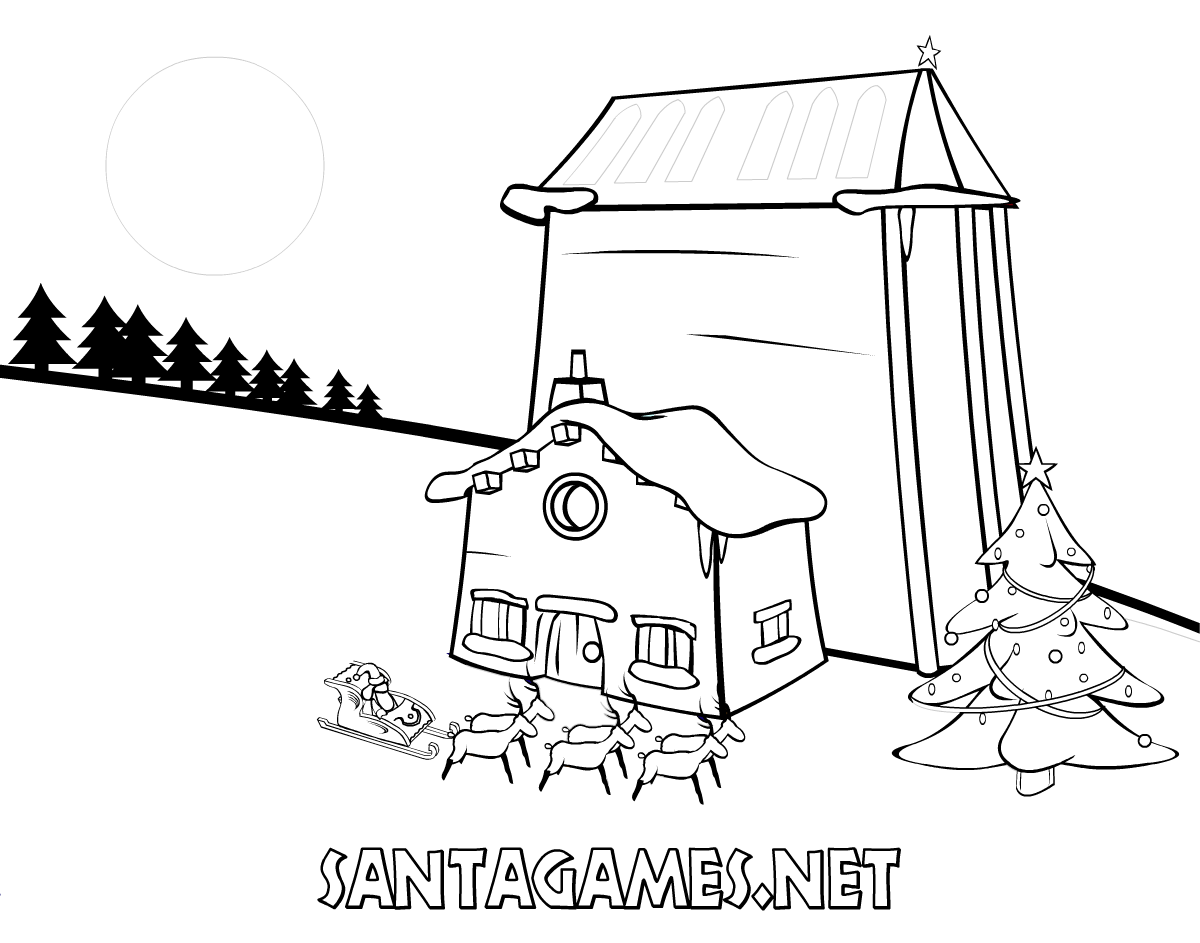 Santa S House Coloring Pages With Claus On His Sleigh SantaGames Net