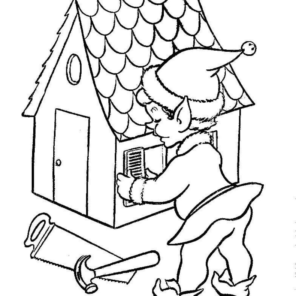 Santa S House Coloring Pages With Elf Is Working On Doll Page Free Printable
