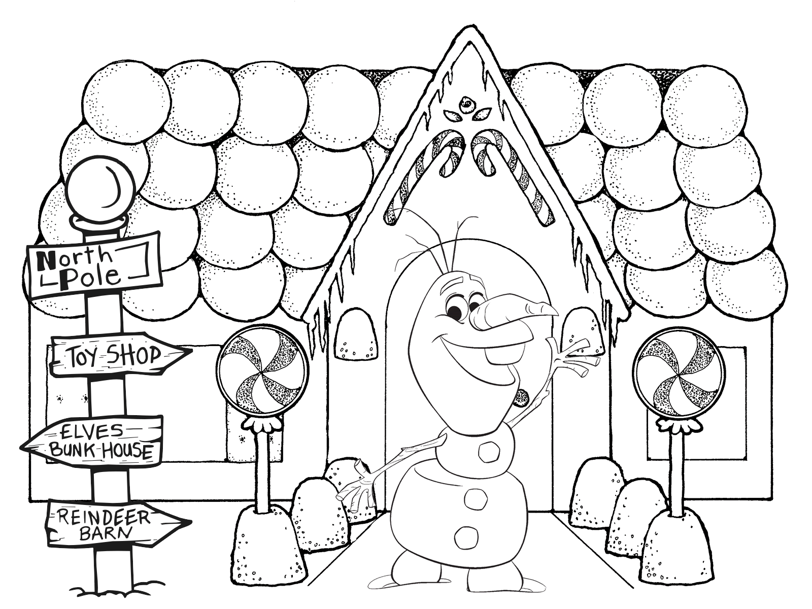 Santa S House Coloring Pages With Frozen Christmas