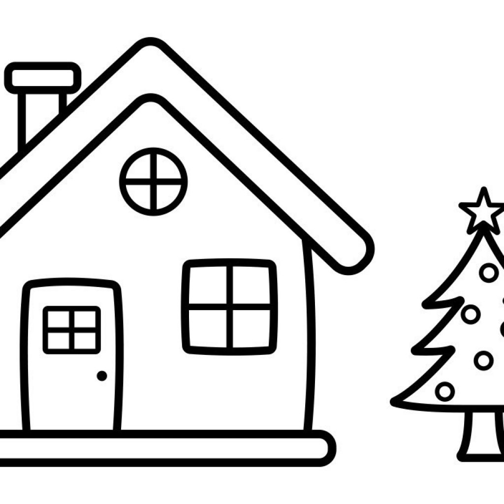 Santa S House Coloring Pages With How To Draw And Paint Christmas Tree