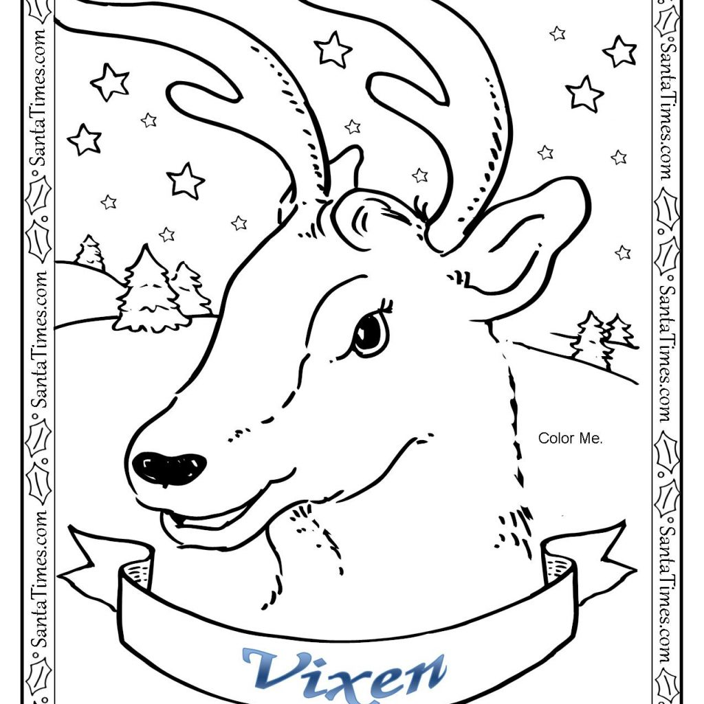 Santa S Reindeer Coloring Pages With Vixen The