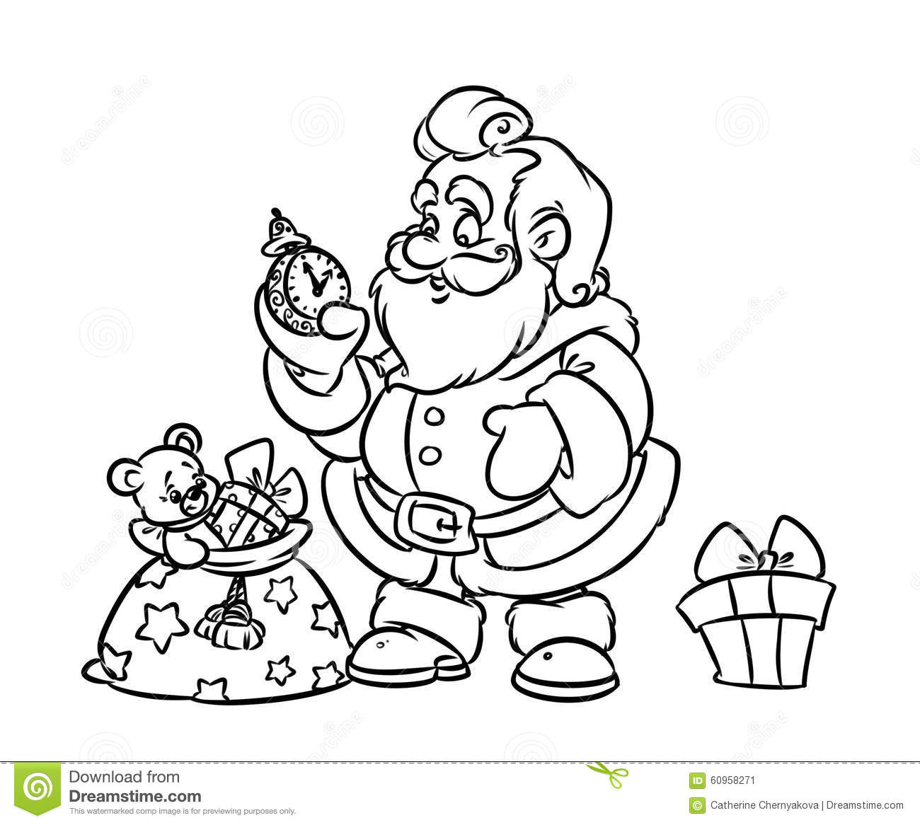 Santa S Sack Coloring Page With Christmas Claus Gift Bag Stock Illustration