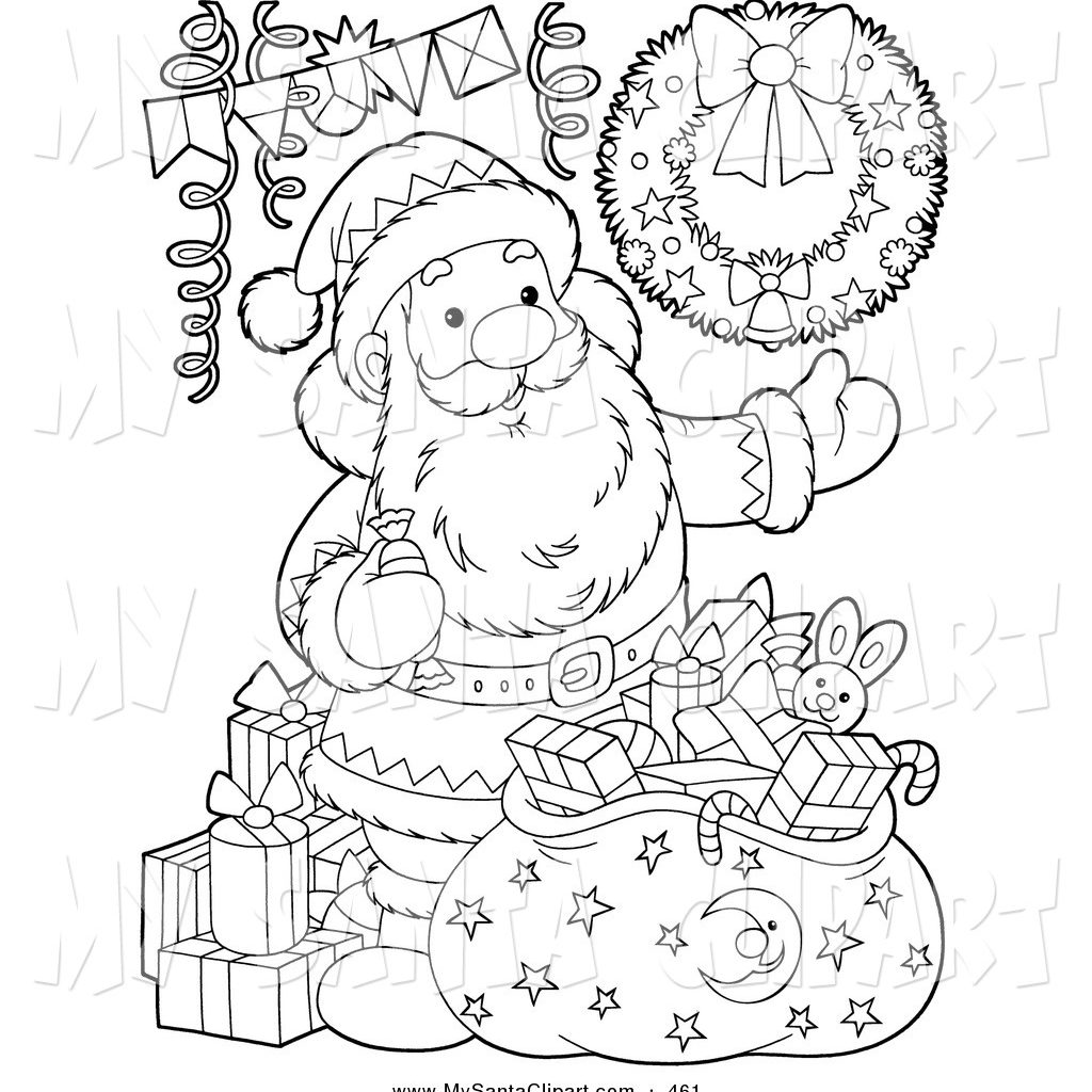 Santa S Sack Coloring Page With Christmas Clip Art Of A Black And White Outline
