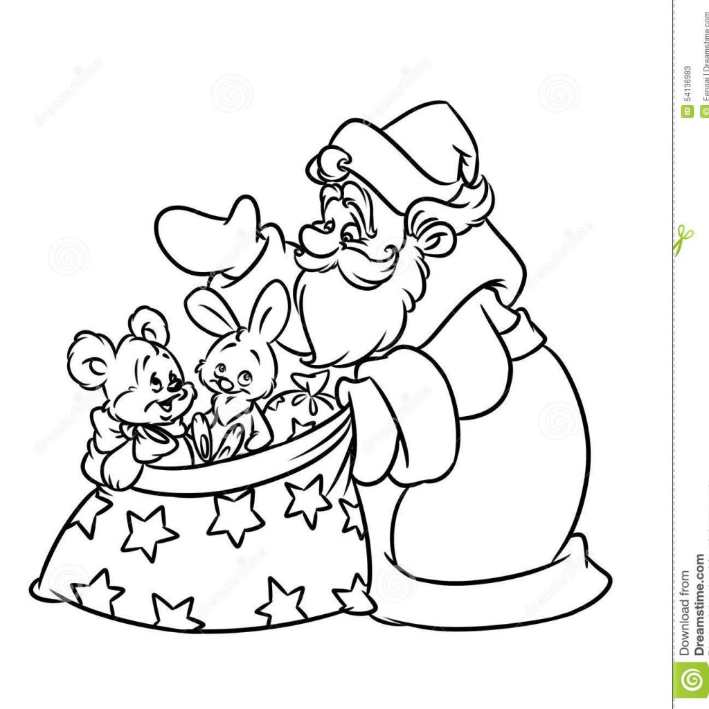 Santa S Sack Coloring Page With Christmas Gifts Stock Illustration