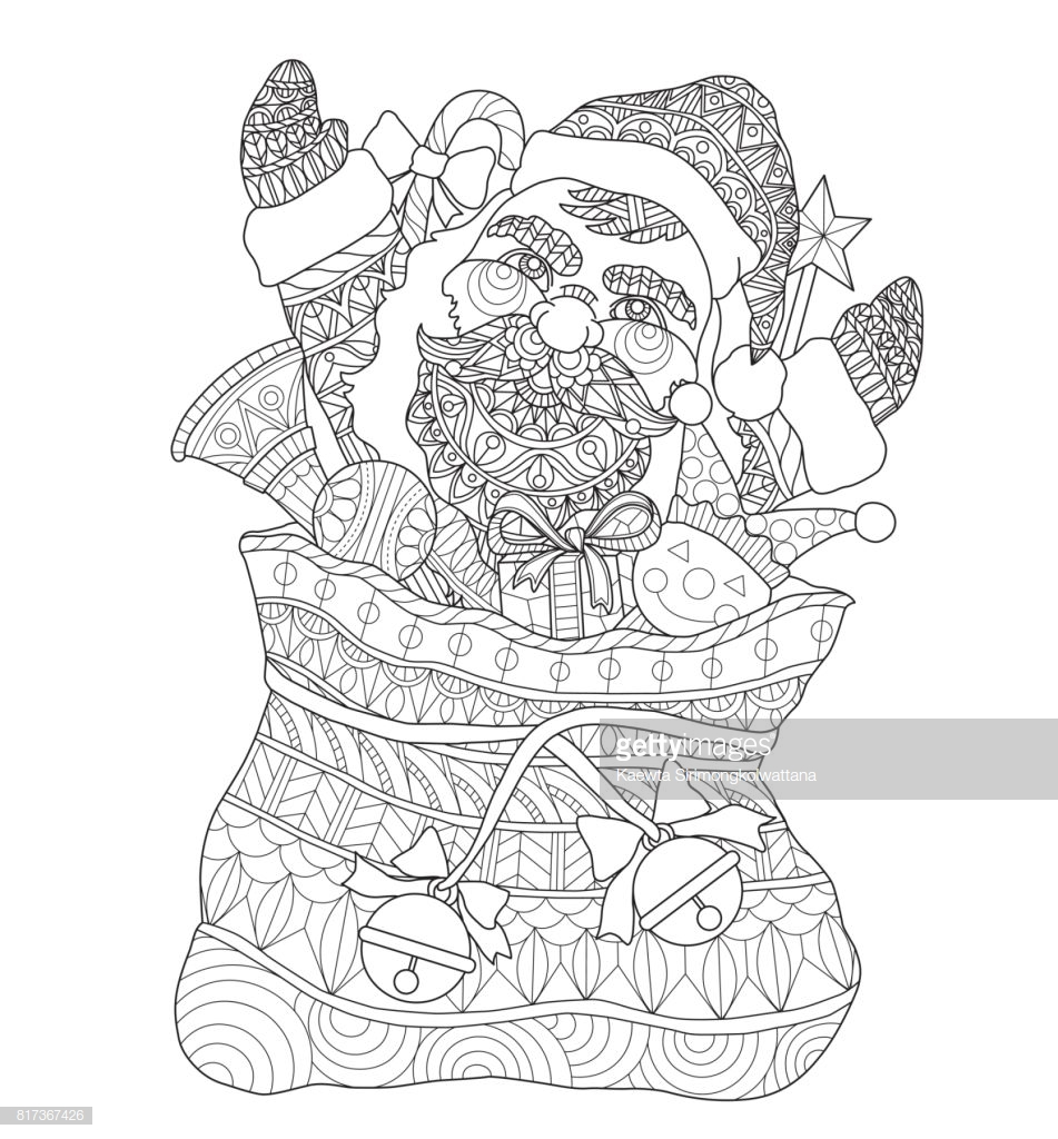 Santa S Sack Coloring Page With Hand Drawn Claus In The Santas For Adult
