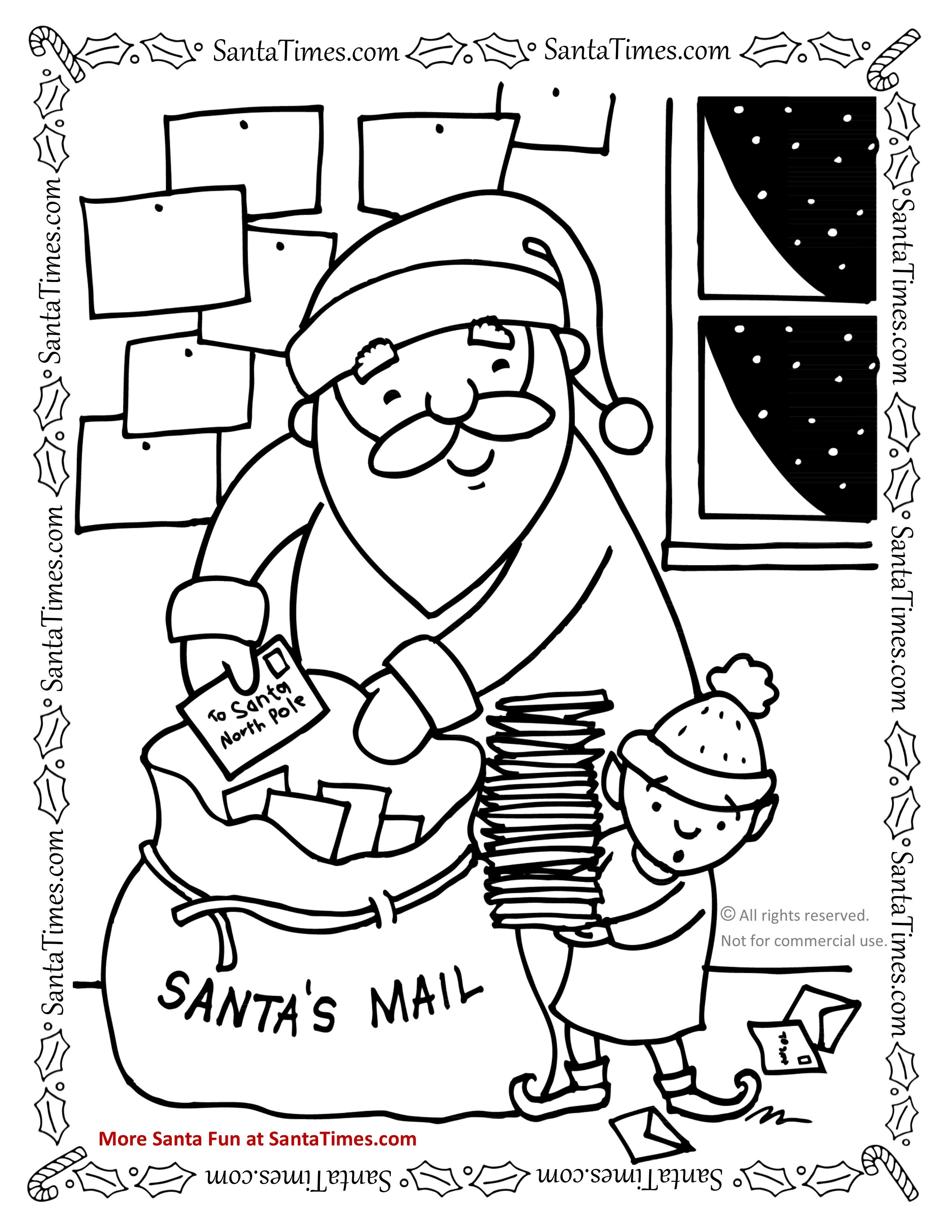 Santa S Sack Coloring Page With Mail Bag