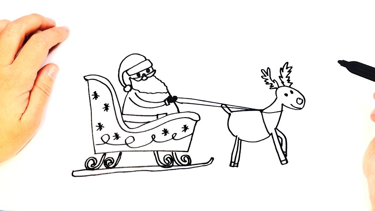 Santa S Slay Coloring Pages With How To Draw Claus Sleigh Easy Tutorial YouTube