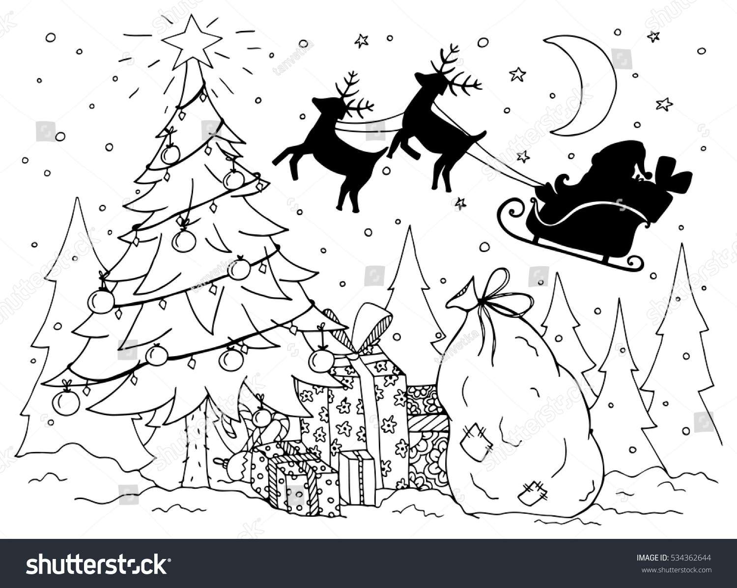Santa S Slay Coloring Pages With Sleigh Outlined Riding His Page Vector Claus On