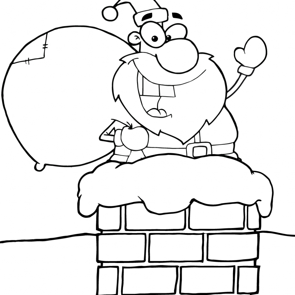 Santa S Stuck Coloring Page With Claus In Chimney Free Printable Pages