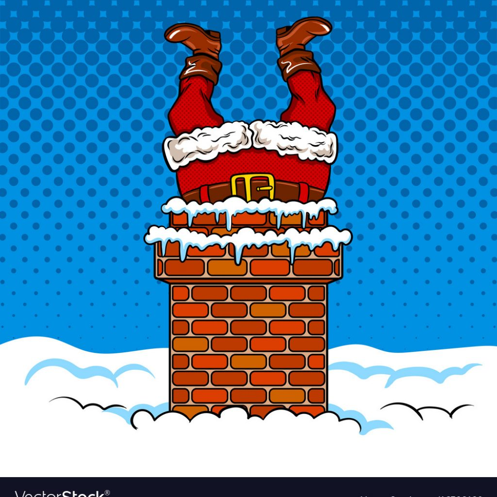 Santa S Stuck Coloring Page With Claus In The Chimney Comic Book Vector Image