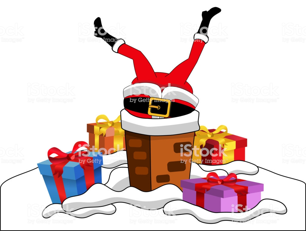 Santa S Stuck Coloring Page With Claus In The Chimney Upside Down Isolated Stock Vector