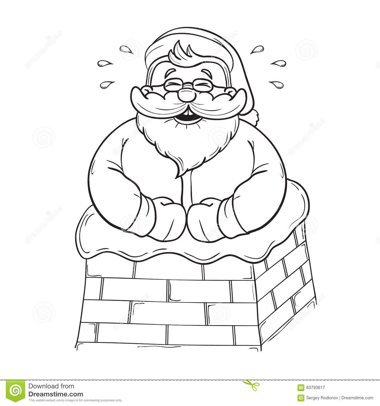 Santa S Stuck Coloring Page With Funny Cartoon Claus In The Chimney And Laughs Black