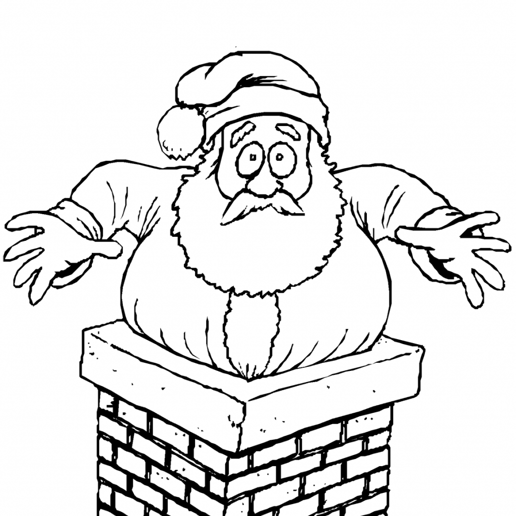 Santa S Stuck Coloring Page With In The Chimney Free Printable Pages