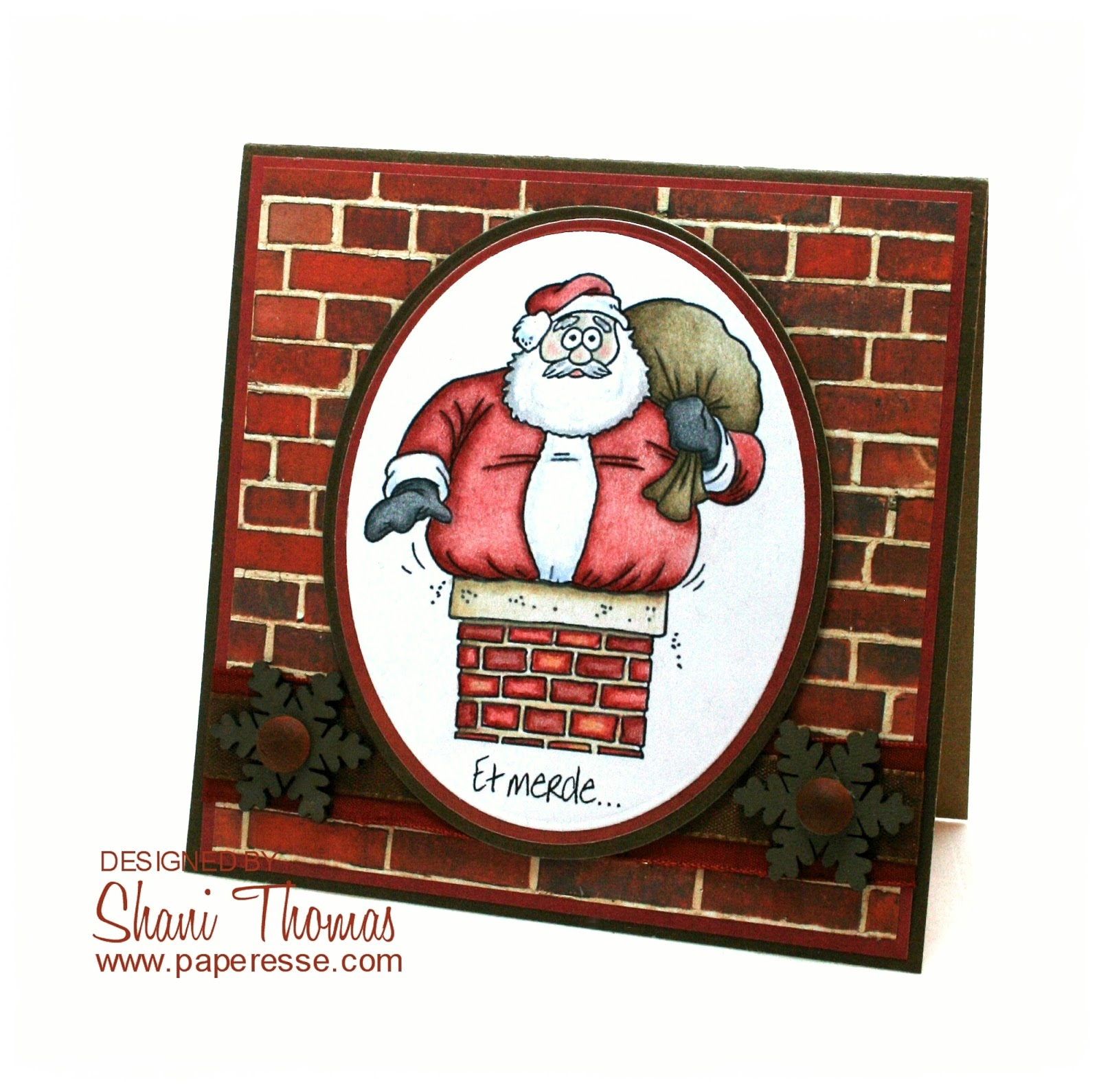 Santa S Stuck Coloring Page With Paperesse Et Merde Funny In A Chimney Christmas Card
