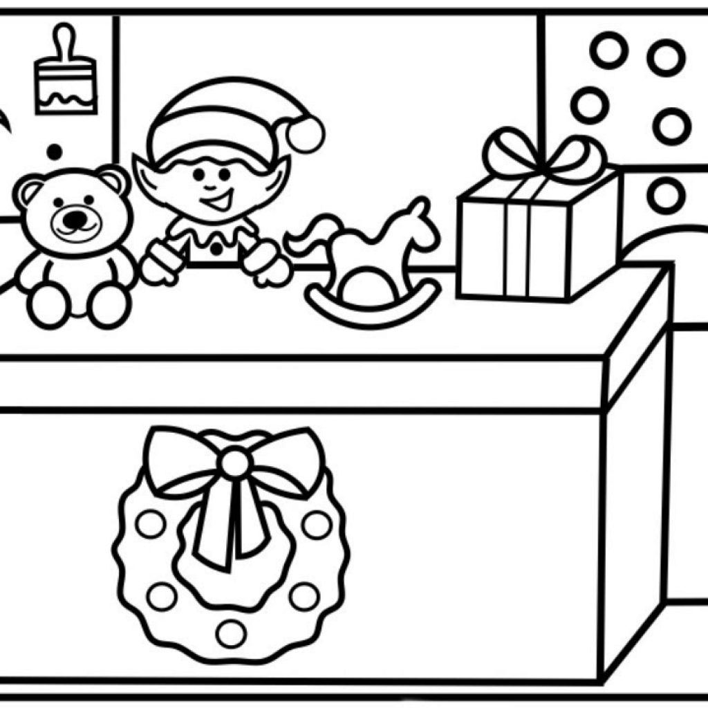 Santa S Workshop Coloring Pages With How To Draw Cute Christmas Elf Making Toys