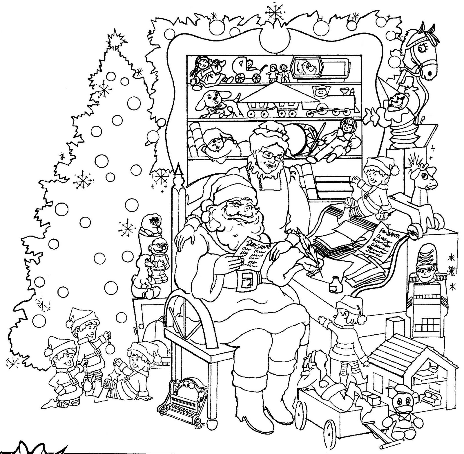 Santa S Workshop Coloring With Christmas Pages Santas Printable Page