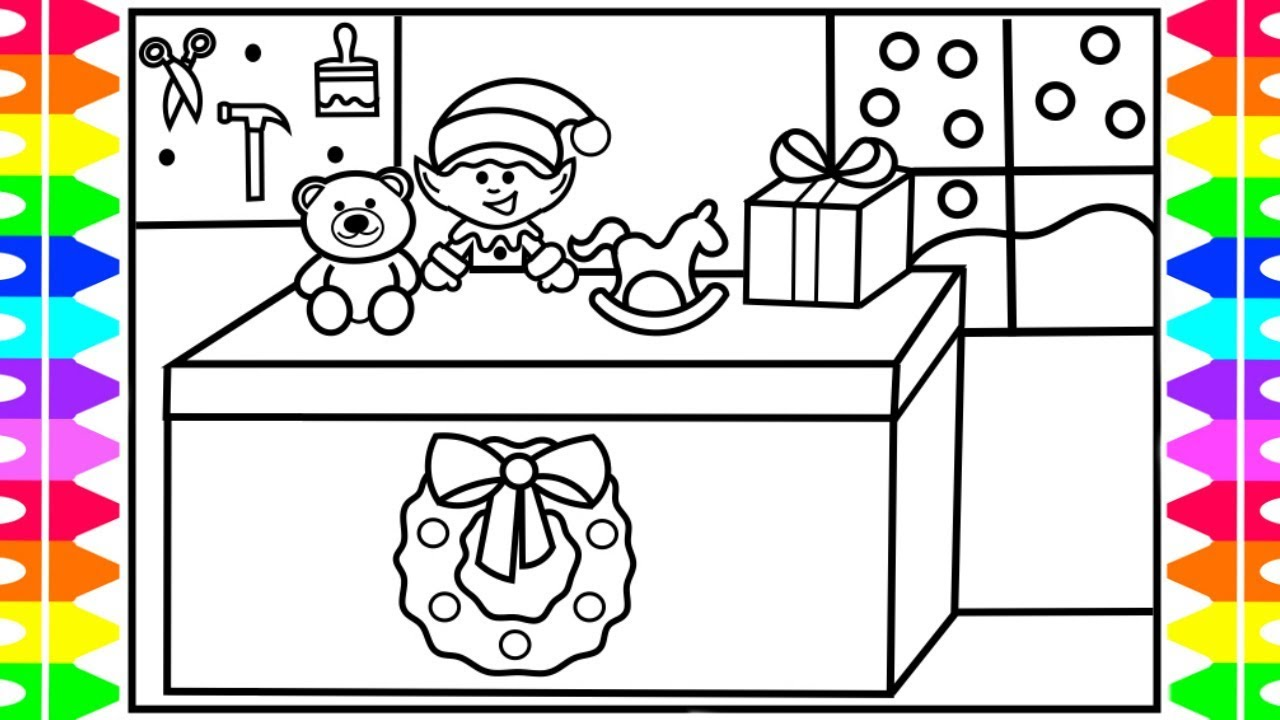 Santa S Workshop Coloring With How To Draw Cute Christmas Elf Making Toys