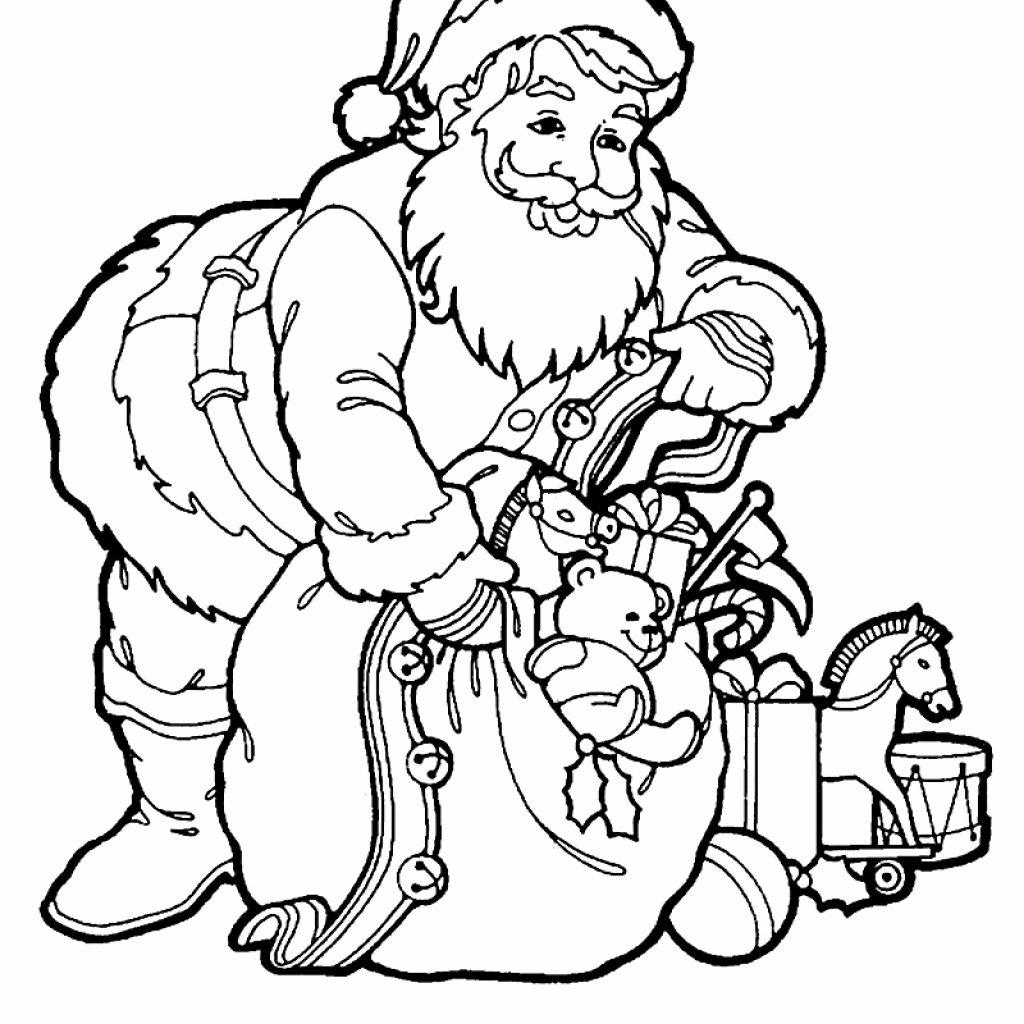 Santa Sack Coloring With A Of Toys Page Print Color Fun