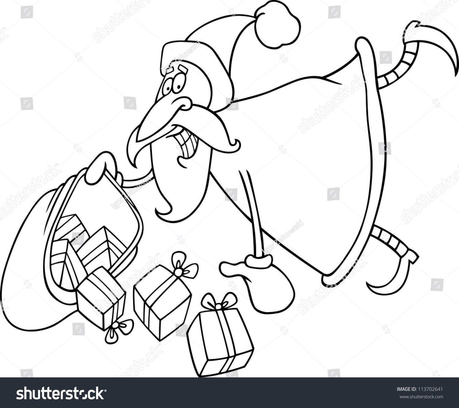 Santa Sack Coloring With Cartoon Illustration Flying Claus Stock