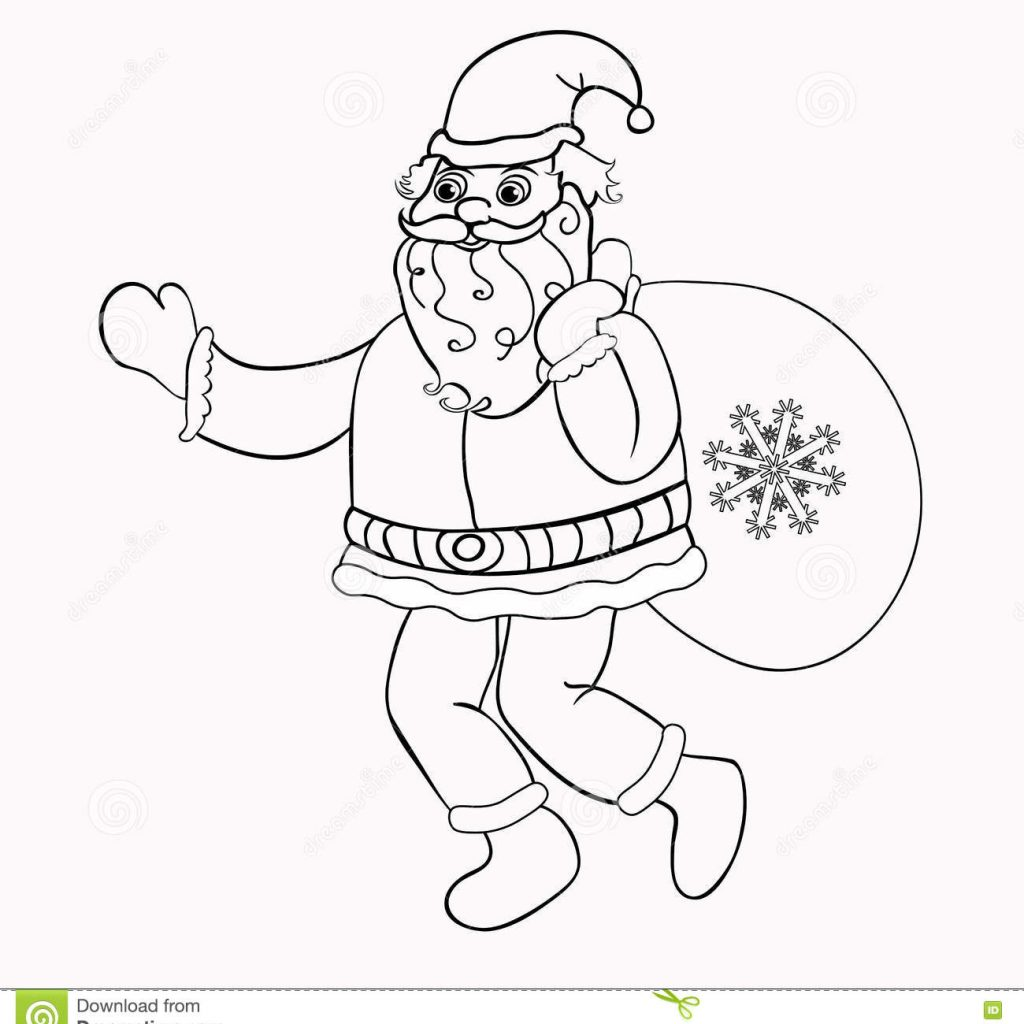Santa Sack Coloring With Claus A Bag Of Gifts Vector Illustration Stock
