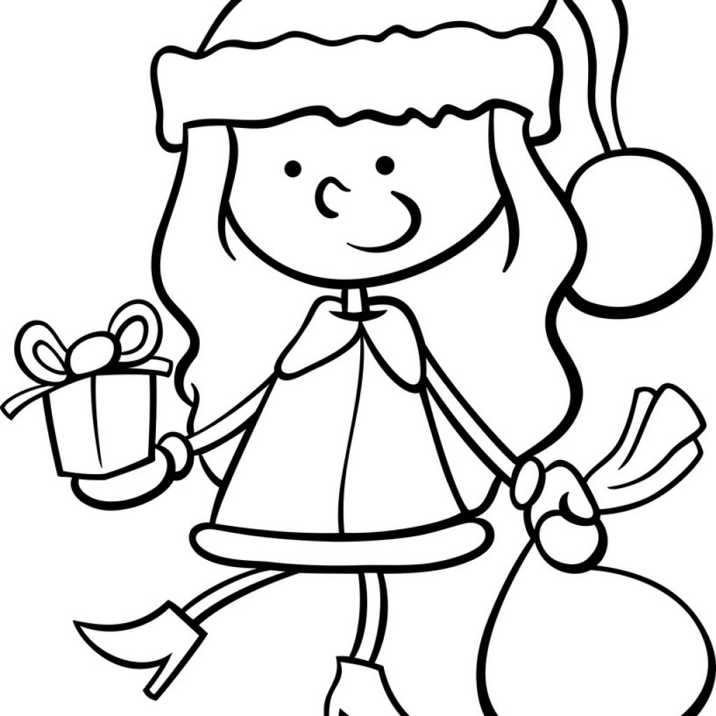 Santa Sack Coloring With Claus Kid Cartoon Page Royalty Free Vector