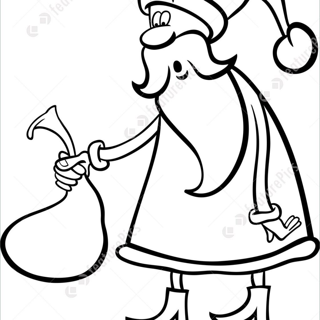 Santa Sack Coloring With Holidays Claus Cartoon For Stock Illustration