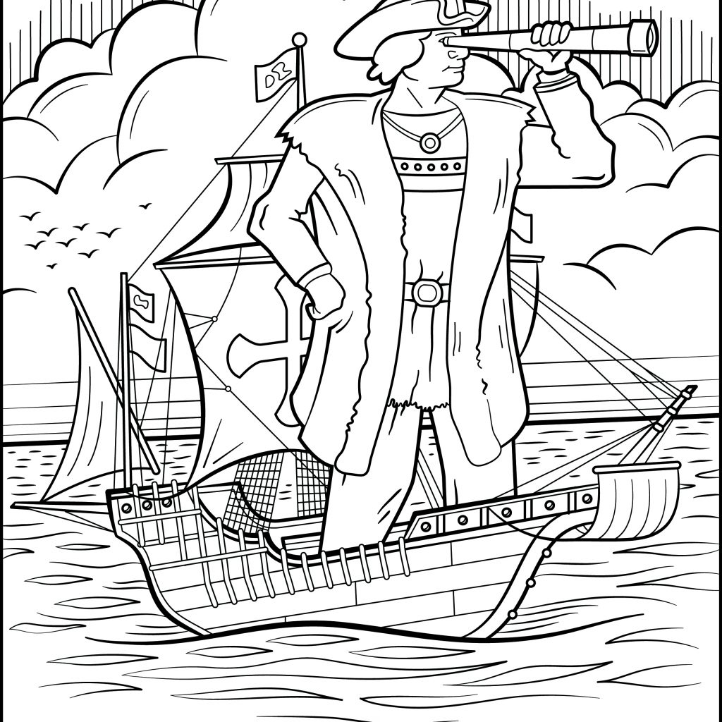 Santa Skull Coloring Pages With Christopher Columbus Collection Free Books
