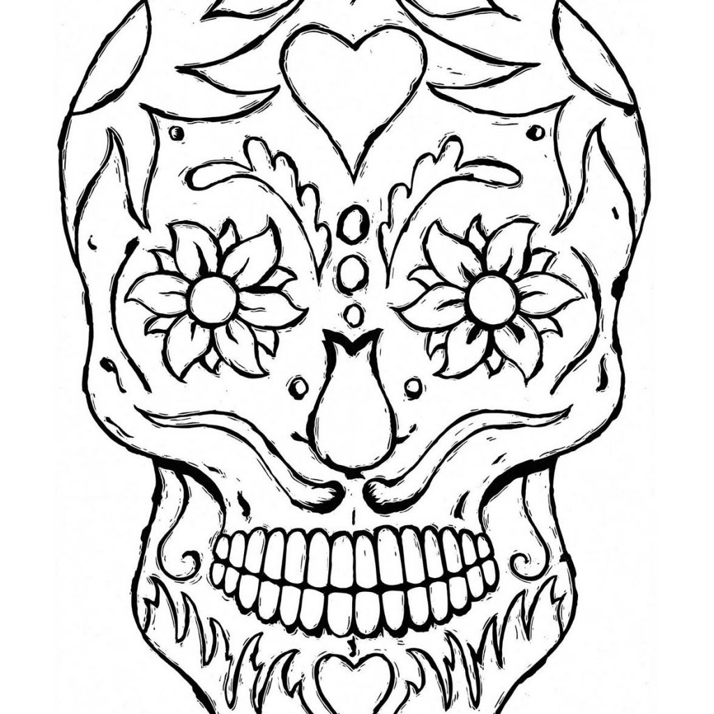 Santa Skull Coloring Pages With Day Of The Dead Printable