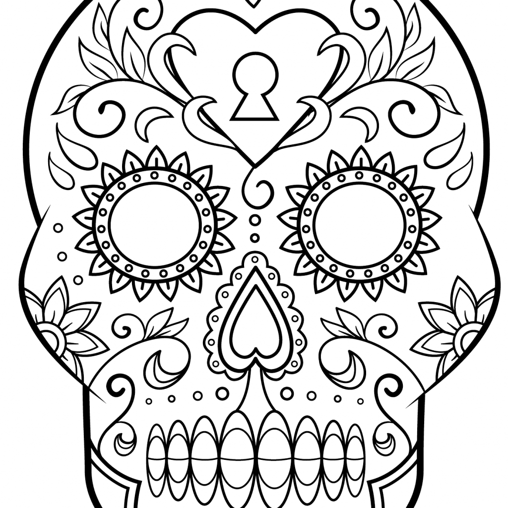 Santa Skull Coloring Pages With Day Of The Dead Sugar Page Free Printable