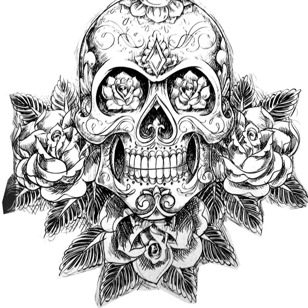 Santa Skull Coloring Pages With Free Page Tatouage Skeleton Magnificient