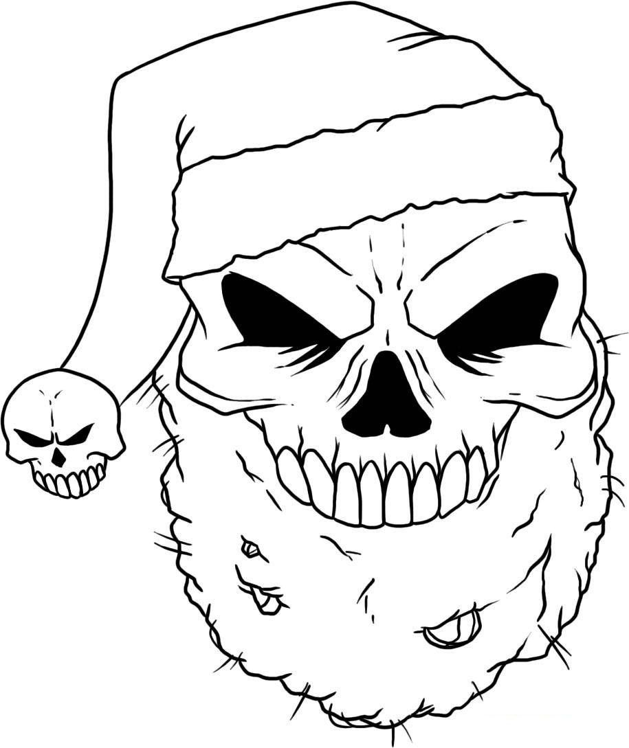 Santa Skull Coloring Pages With Printable Nathalie Pinterest Sugar Skulls