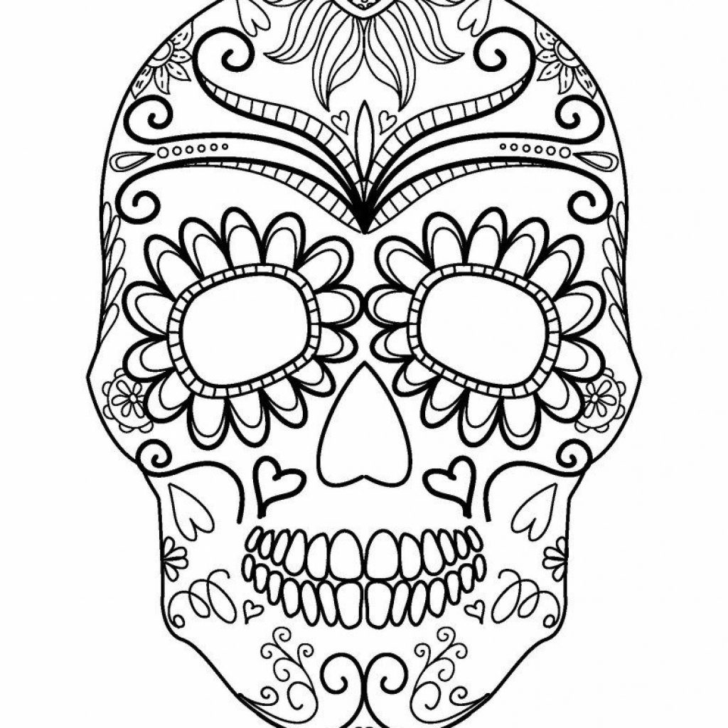 Santa Skull Coloring Pages With Sugar Page AZ Nail Art Pinterest