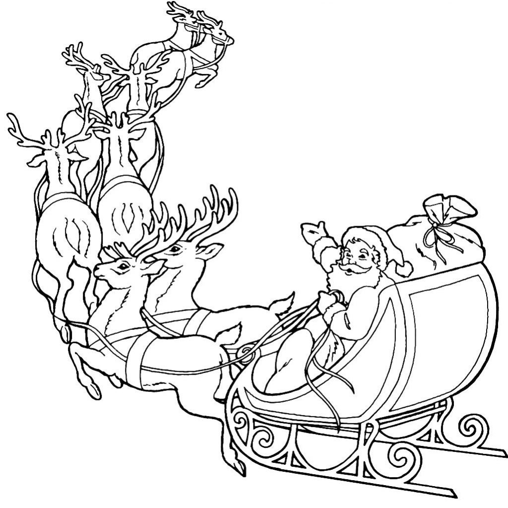 Santa Sled Coloring Page With Claus And Reindeer Pages Redwork Embroidery