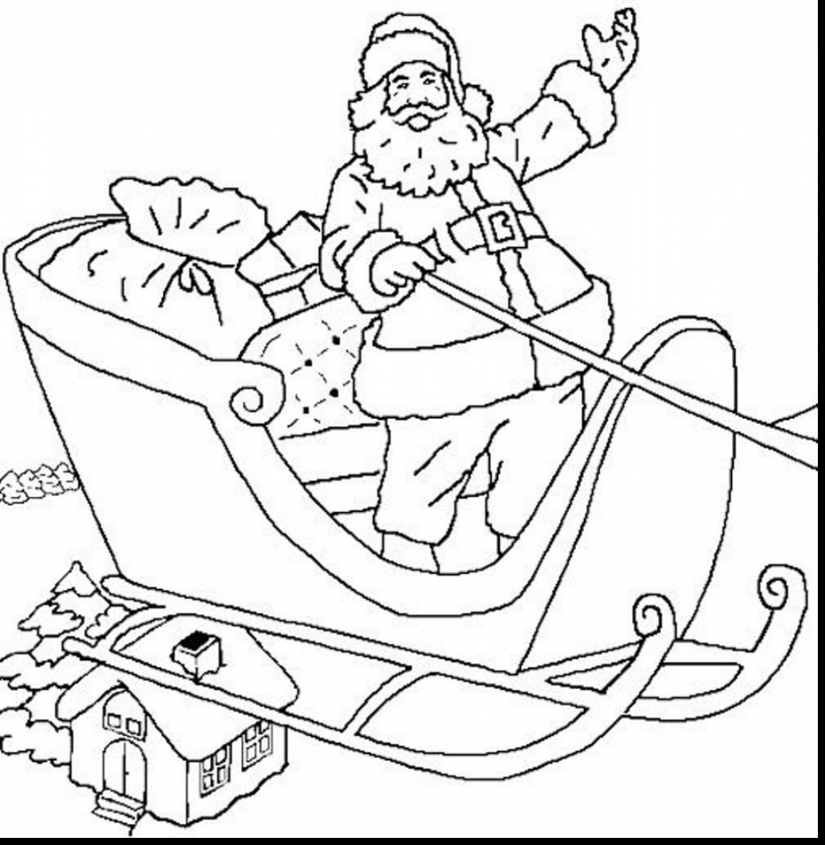 Santa Sled Coloring Page With Claus Sleigh Pages 2666465