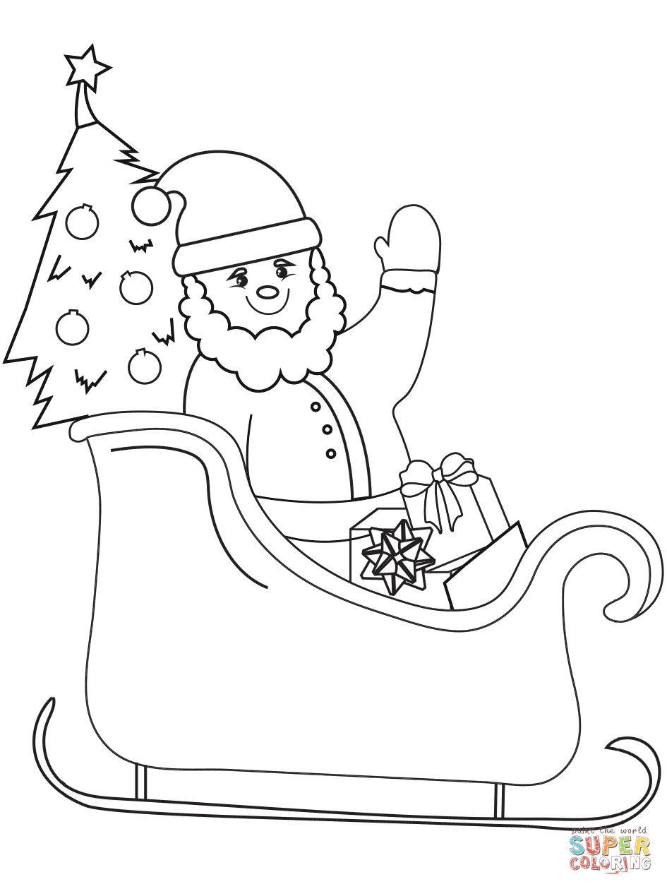 Santa Sled Coloring Page With On Sleigh Free Printable Pages
