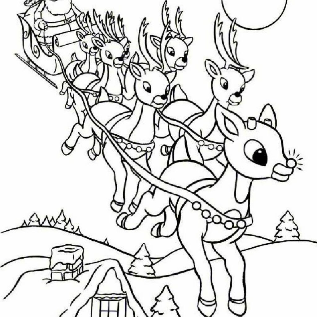 Santa Sled Coloring Page With Rudolph And Sleigh Pages Hellokids Com
