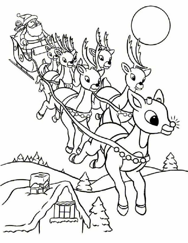 Santa Sleigh Coloring Page With Rudolph And Pages Hellokids Com