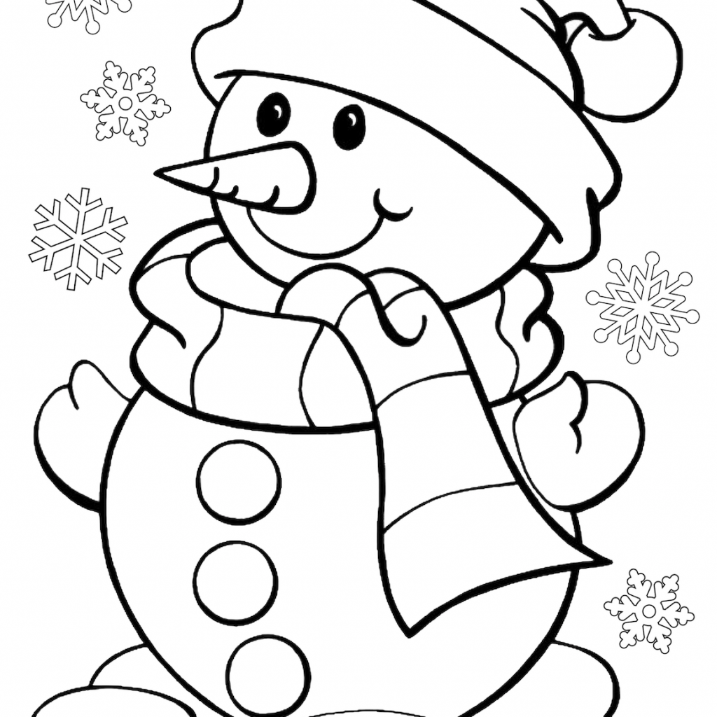 Santa Snowman Coloring Pages With Christmas