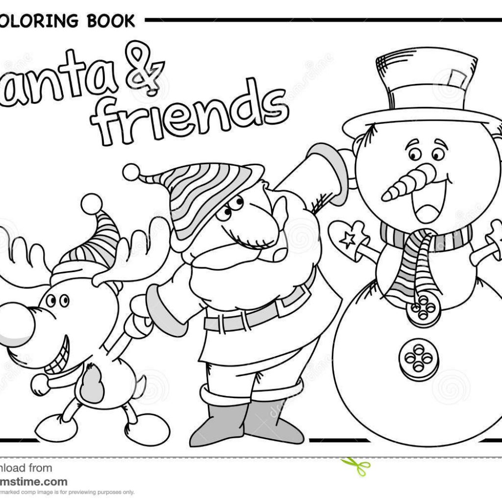Santa Snowman Coloring Pages With Claus His Friends Reindeer And Draw