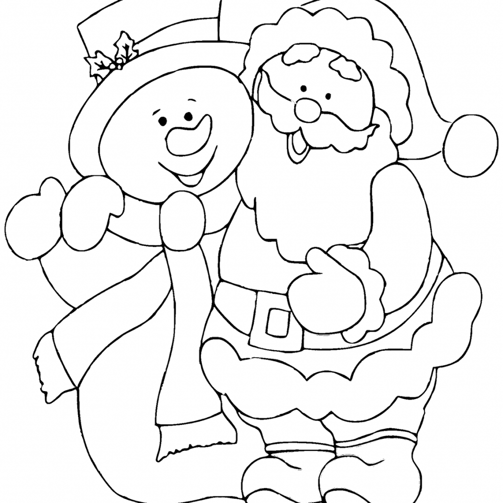 Santa Snowman Coloring Pages With Claus Page Free Printable