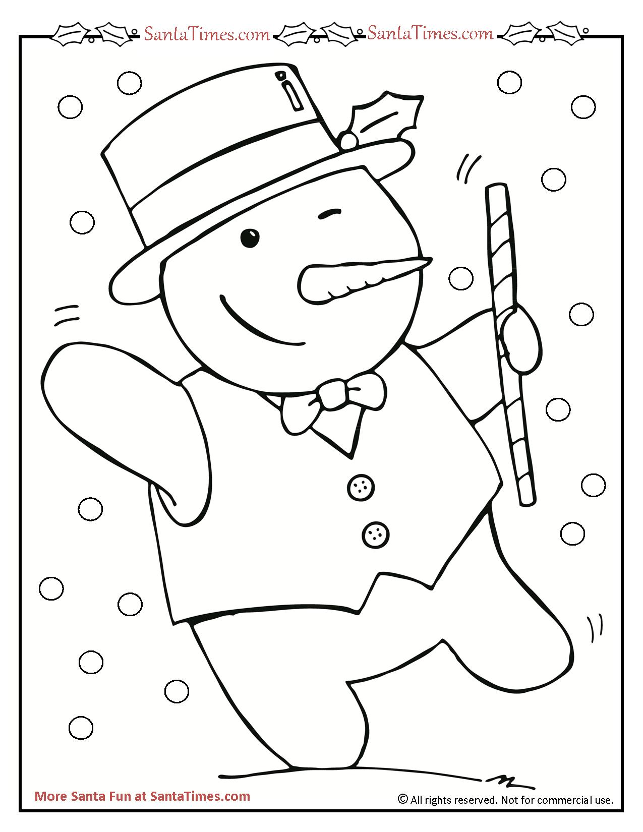 Santa Snowman Coloring Pages With Dancing Page