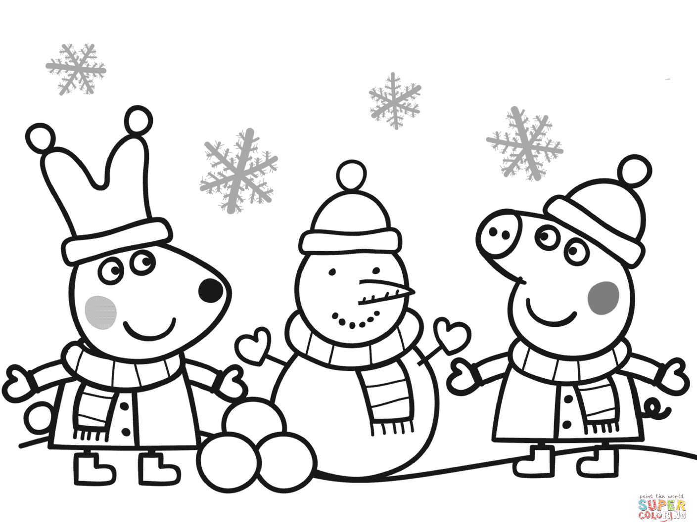 Santa Snowman Coloring Pages With Gift Box For Peppa Page Free Printable