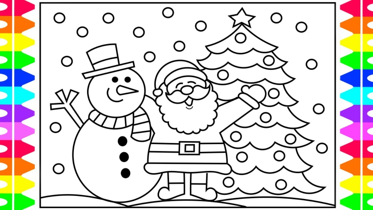 Santa Snowman Coloring Pages With How To Draw SANTA Step By For Kids And