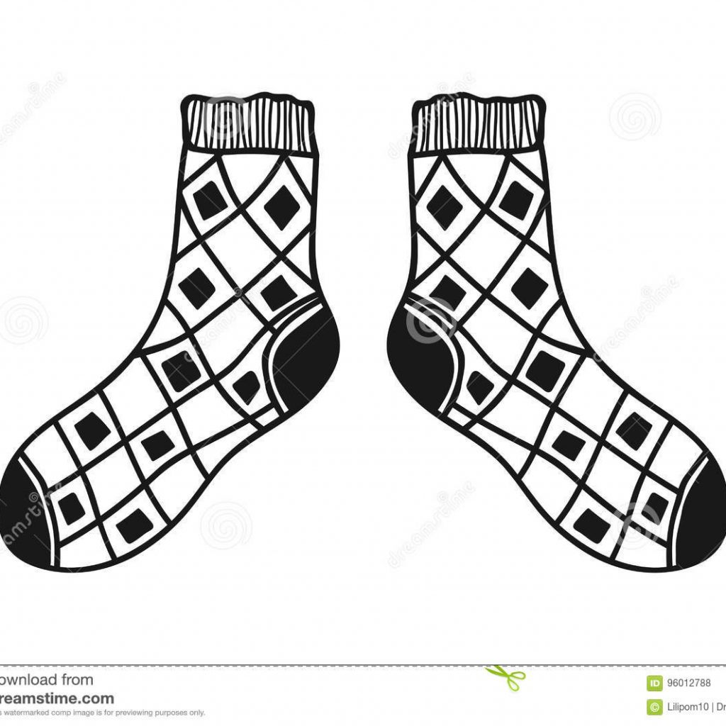 santa-socks-coloring-with-doodle-black-and-white-illustration-for-book-pages