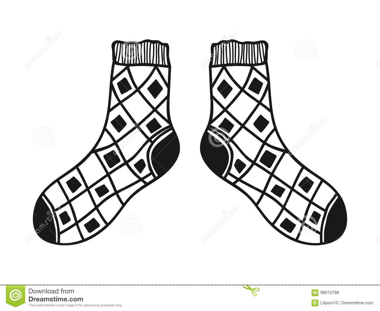 Santa Socks Coloring With Doodle Black And White Illustration For Book Pages