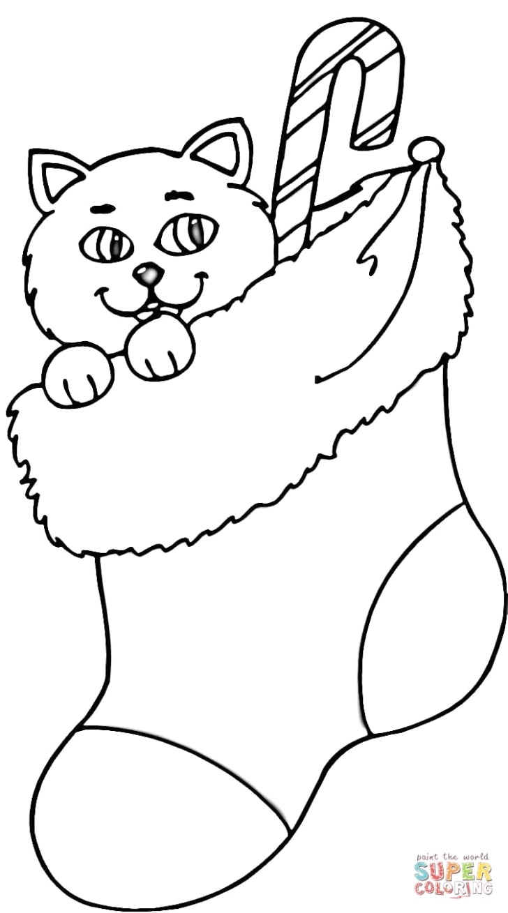Santa Stocking Coloring Page With Christmas Awesome Farm Animals Pages Cat
