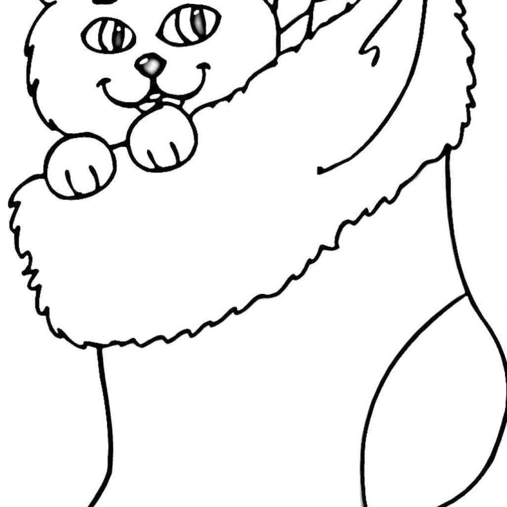 Santa Stocking Coloring Page With Christmas Pages Itoko Me