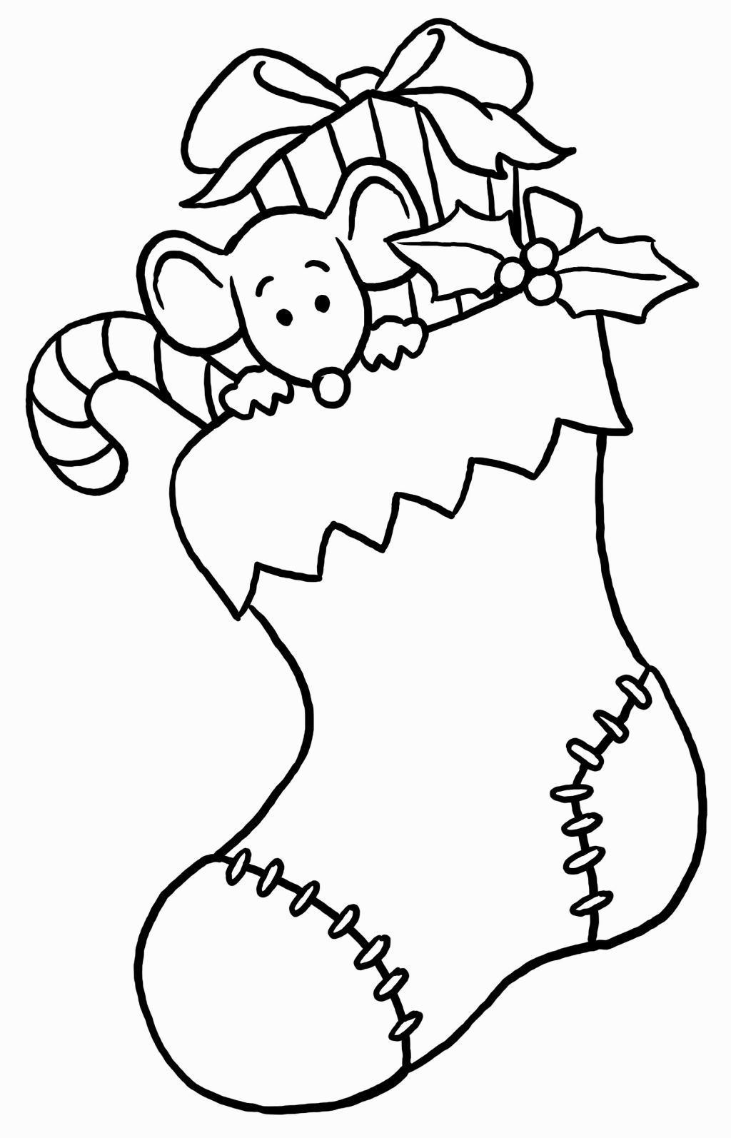 Santa Stocking Coloring Page With Christmas Pages Pinterest