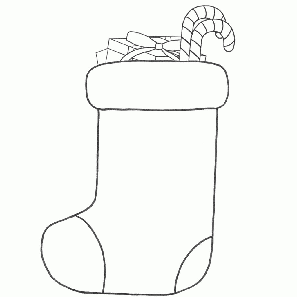 Santa Stocking Coloring Page With Christmas Stockings Pages Rallytv Org In