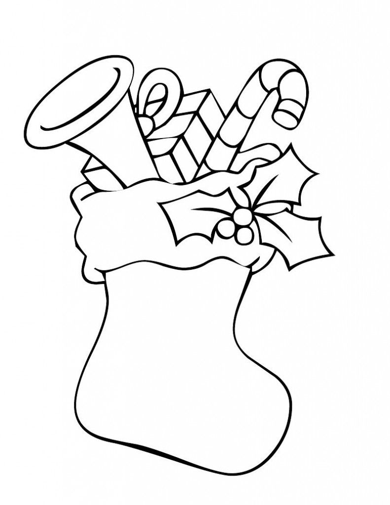 Santa Stocking Coloring Page With Christmas